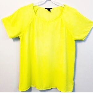 Neon Yellow Blouse Dress Top Popover Small
